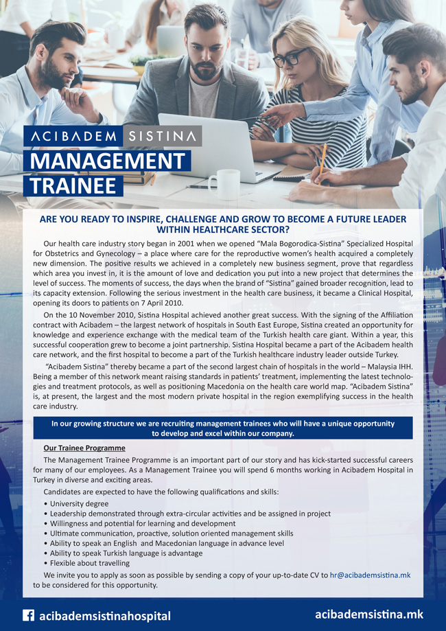 AcibademSistina MANAGEMENT TRAINEE